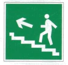 Пластик Фотолюм. (Е-16) Направление к эвакуационному выходу по лестнице вверх (налево)