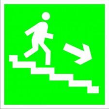 Пластик Фотолюм. (Е-13) Направление к эвакуационному выходу по лестнице вниз (направо)