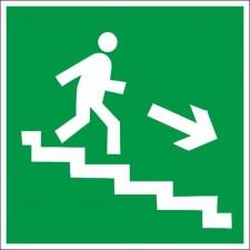 Знак-Плёнка (Е 13) Направление к эвакуационному выходу по лестнице вниз, правосторонний